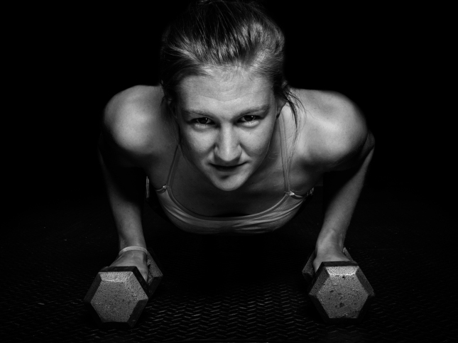 Black and white fitness portrait