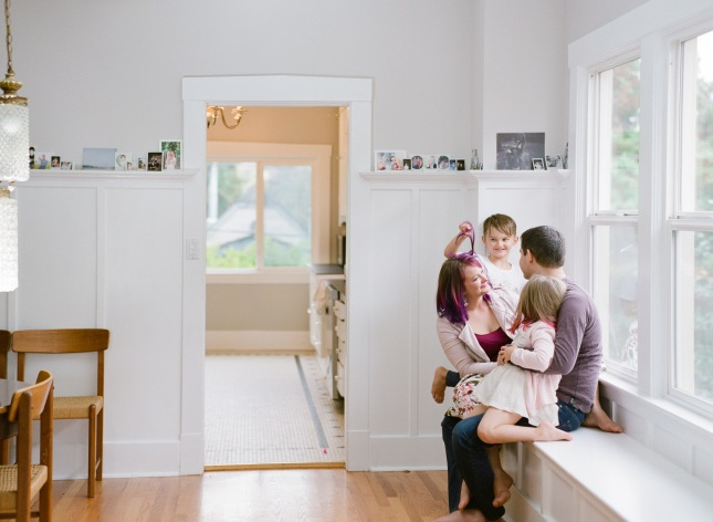 Family portrait by window