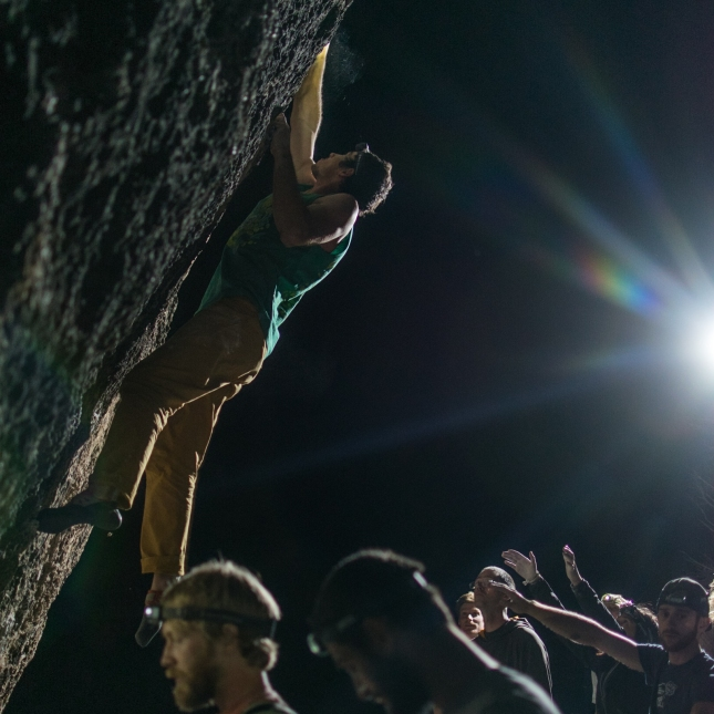 Climber at night photo by Josh King